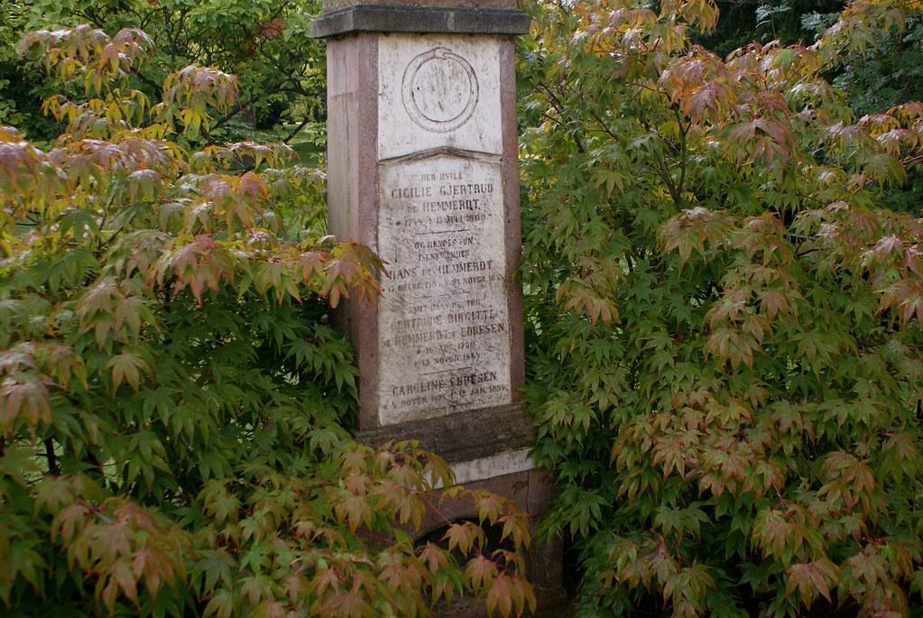 > Une stèle du cimetière Assistens Kierkegaard sur fond de feuillages d'érables à Copenhague.