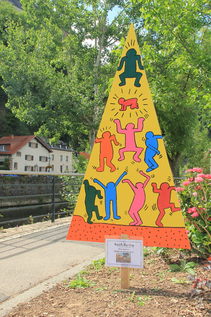 Mural in the style of Keith Haring, painted by children from one of the local schools, Vianden