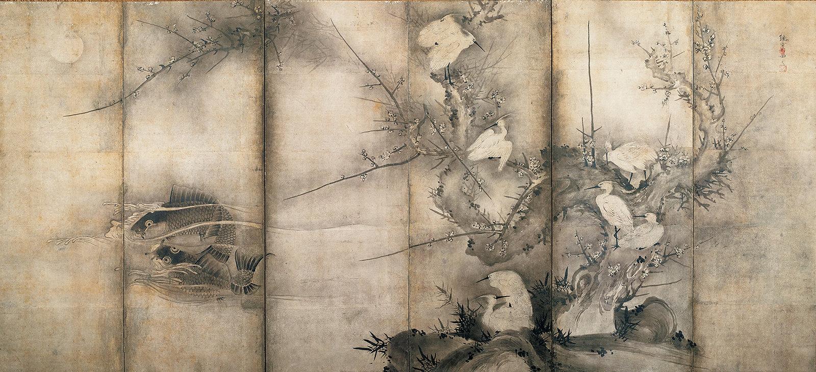 《花鳥図屏風(右隻)》(室町時代、ミネアポリス美術館、全期間)