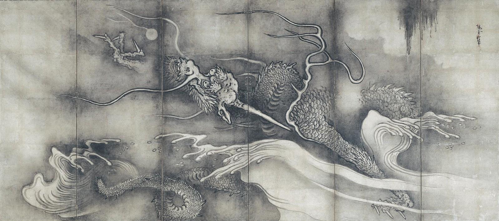 《龍虎図屛風(右隻)》(室町時代、東京・根津美術館、8月22日~)