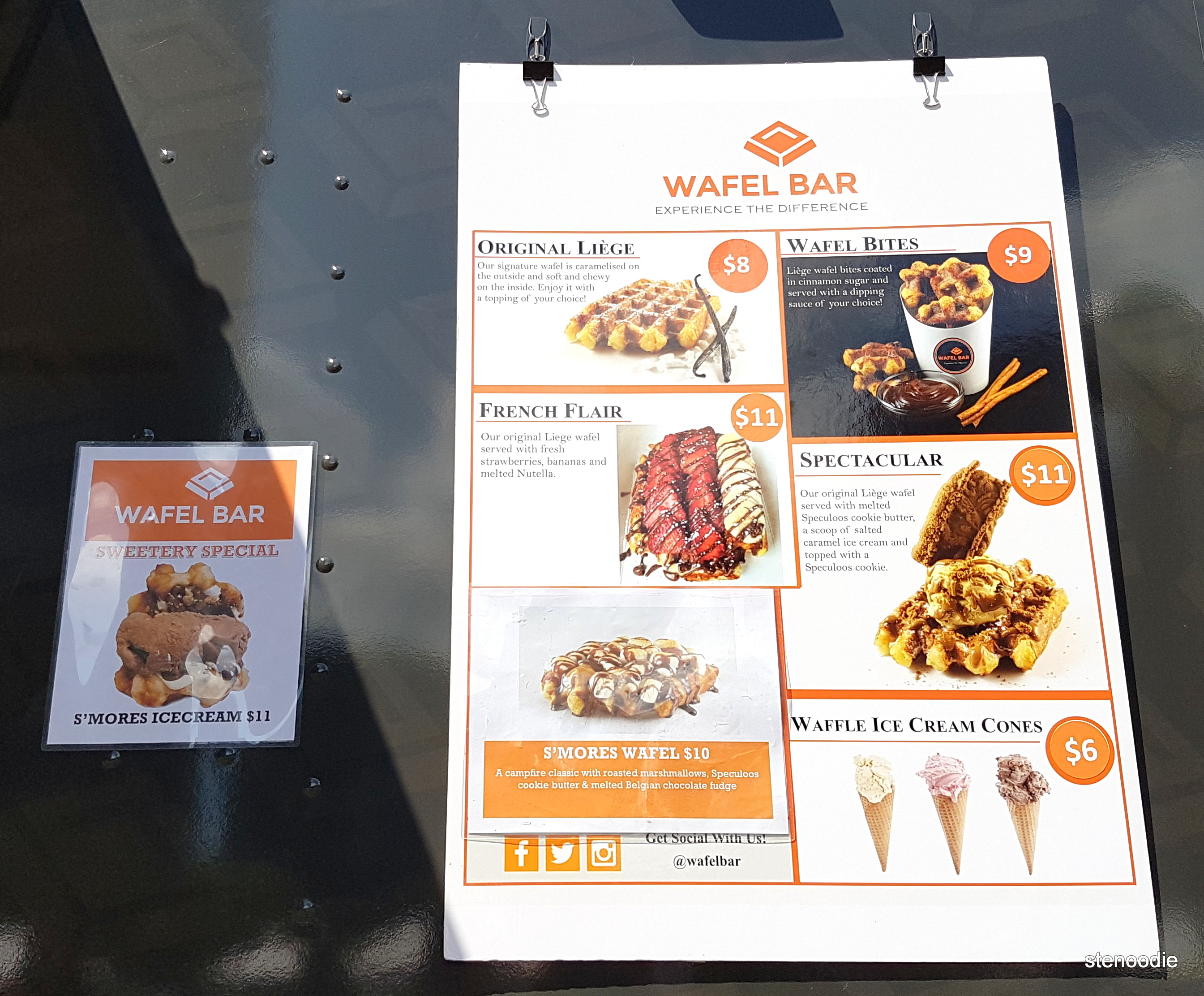 Wafel Bar Sweetery Toronto menu and prices