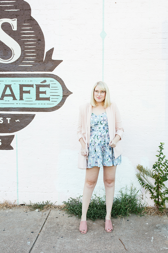 austin fashion blogger writes like a girl pastel floral romper blush blazer2