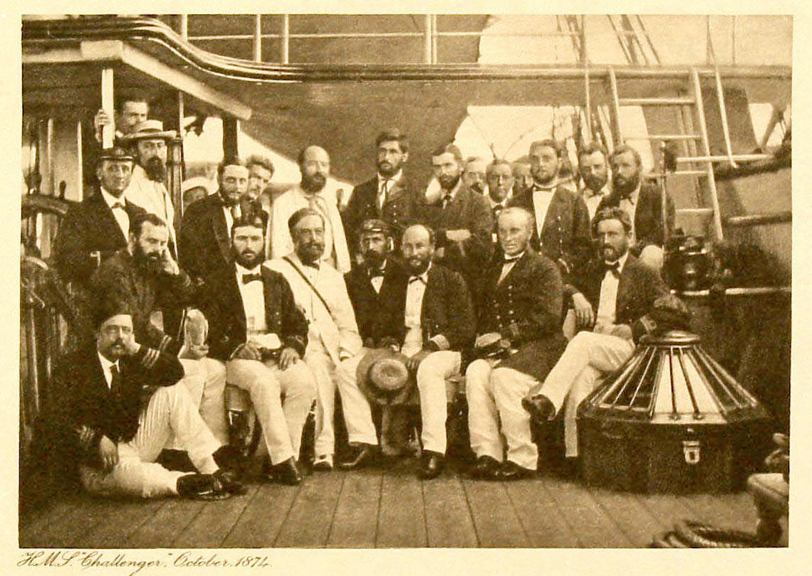 Members of the Challenger Expedition aboard HMS Challenger, October 1874