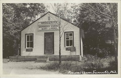 NW Spider Lake Traverse MI RPPC 1940s Werner's Corner Grocery & Boat Landing at Pinewood Shores on the the eastside on Spider Lake Photographer Charles HERBERT