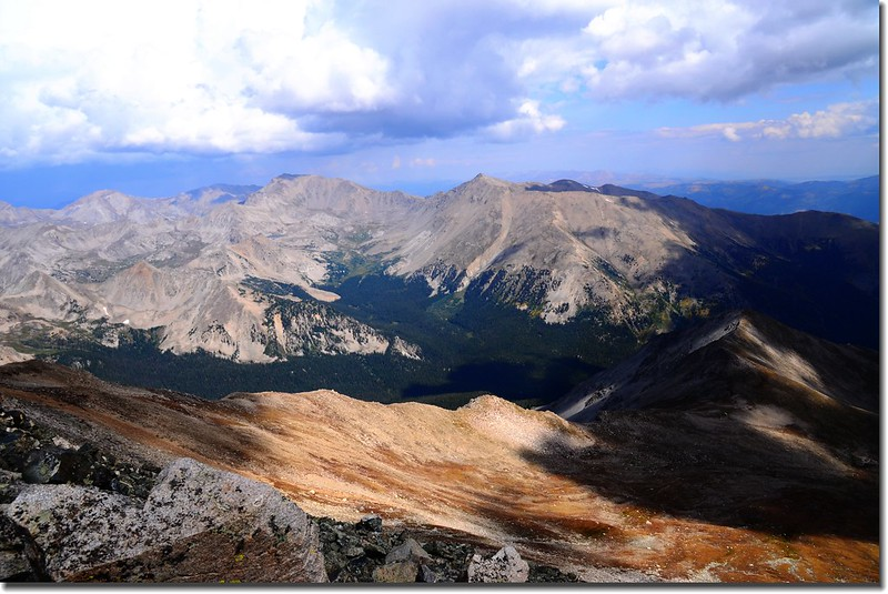 On the summit, looking north to Mt. Harvard and Mt. Columbia (right)