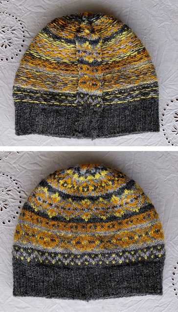 Handknit colourwork hat, inside and out.