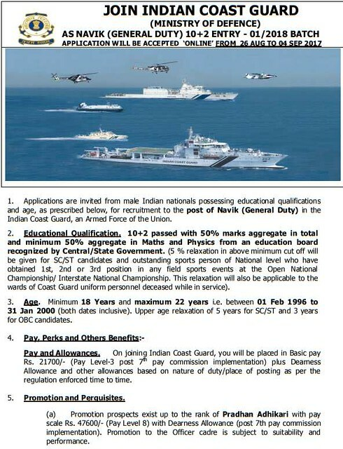 Indian Coast Guard Recruitment 01/2018 for Navik General Duty Notification
