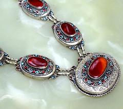 Carnelian-Stone-Afghan-Kuchi-Pendant-Necklace-Tribal-Jewelry-Ethnic-Boho-Chain