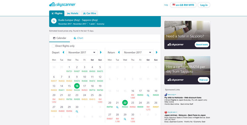 skyscanner sapporo dates