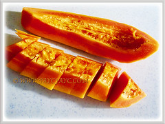 Waiting to relish the sweet orange-red fruit of Carica papaya (Papaya, Papaw, Pawpaw, Melon Tree, Betik in Malay), 8 Sept 2017