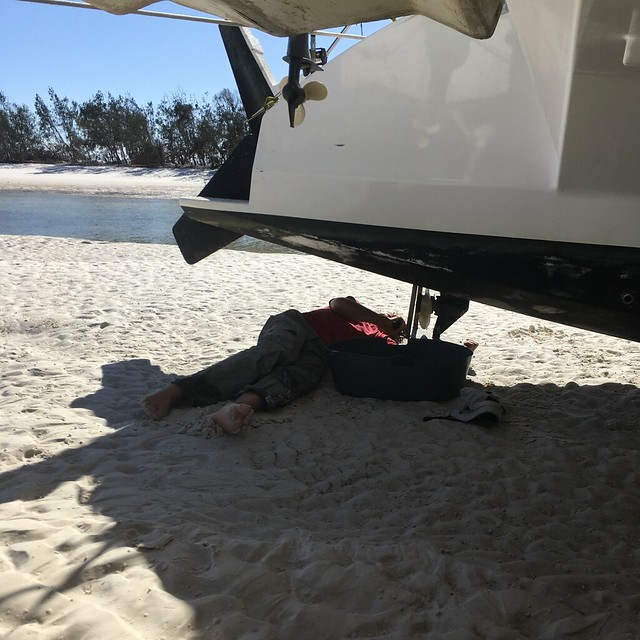 Fixing while dried out at Hill Inlet.