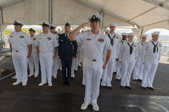 USS Missouri CPO Legacy Academy Class 016 stands in formation for the national anthem during the Academy's graduation aboard the Battleship Missouri Memorial, Aug. 25. (U.S. Navy/MC2  Somers T. Steelman)