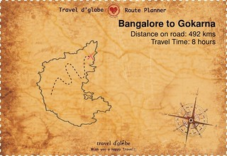 Map from Bangalore to Gokarna