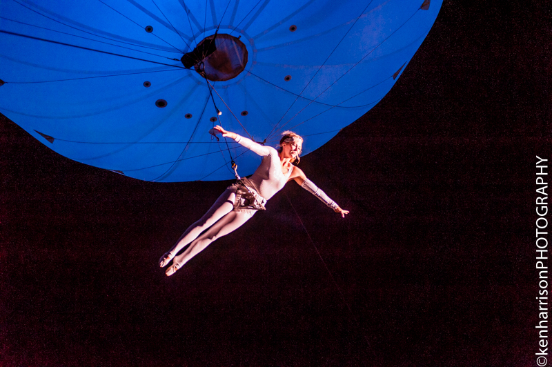 The Dream Engine's 'Heliosphere' Aerial Dancer performs above the crowd at Festival Number 6, Portmeirion, Wales, UK. 9th September, 2017.