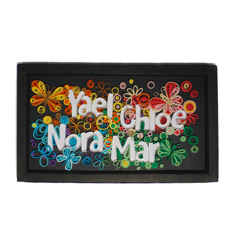 Quilling Name Frame Butterflies Top