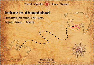 Map from Indore to Ahmedabad