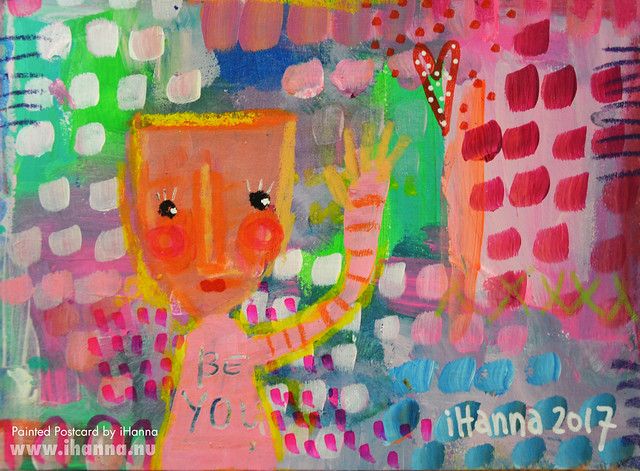 DIY Postcard | Just wanted to say hi to you (Photo and art by Hanna Andersson a.k.a. iHanna, Sweden) #mailart
