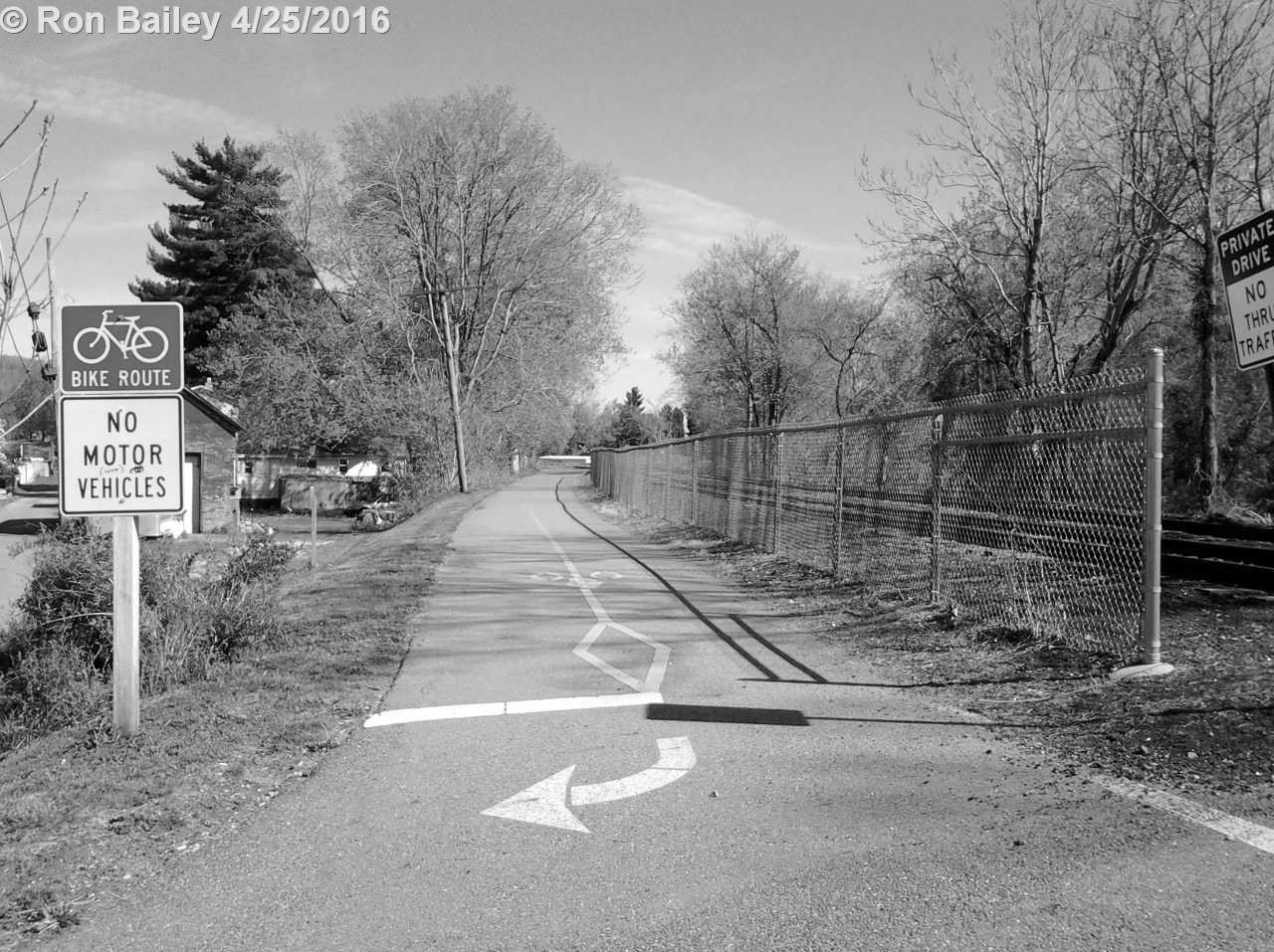The trailhead for the bike path BW