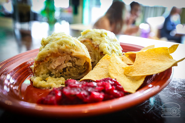 Fried Burrito Stuffed w/ Turkey, Mashed Potatoes, Stuffing Covered in Herb Gravy - Side of Toasted Walnut Cranberry Salsa - Black Bear Burritos