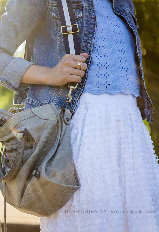 denim jacket, baby blue eyelet scalloped crop top, white clip dot midi skirt, gray tote with navy striped strap