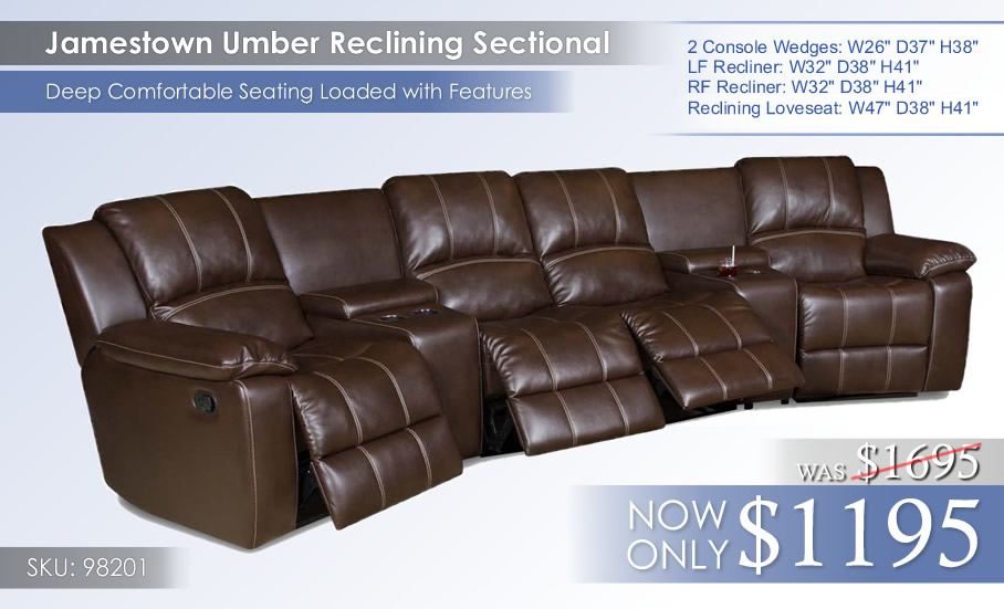 Jamestown Umber Reclining Sectional 98201 priced