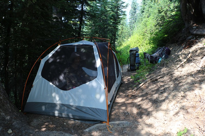 We set up the tent directly on the trail to eat lunch and nap in a fly-free environment on the Buck Creek Trail