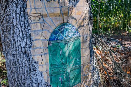 10-Porte de plâtre sur tronc de chêne