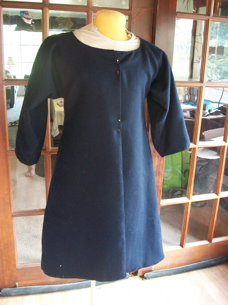 navy wool bedgown