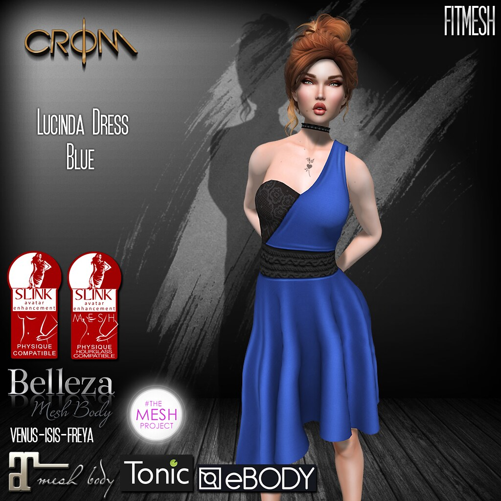 -CroM- Lucinda Blue Dress = 25 L PROMO - SecondLifeHub.com