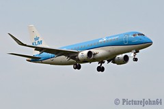 Beacon On: KL1740 KLM Embraer 175 (PH-EXG) with new wingtips arriving from Luxembourg Findel at Schiphol Amsterdam