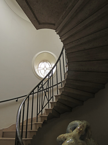 Spiral staircase in the Cardiff Museum in Wales