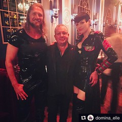 @6tommyguns and @domina_elle with @johnsardelli  and founder of Montreal's Original Fetish Emporium @ilboleromontreal at the Montreal Fetish Weekend IMPUDIQUE LUXURIA VIP fashion dinner party ❤️ @bordellemtl