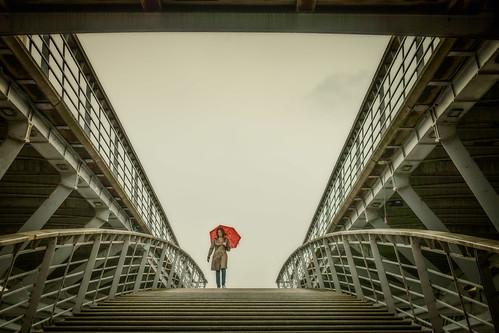Lady with Red Umbrella (Dame avec parapluie rouge), Paris, 2015