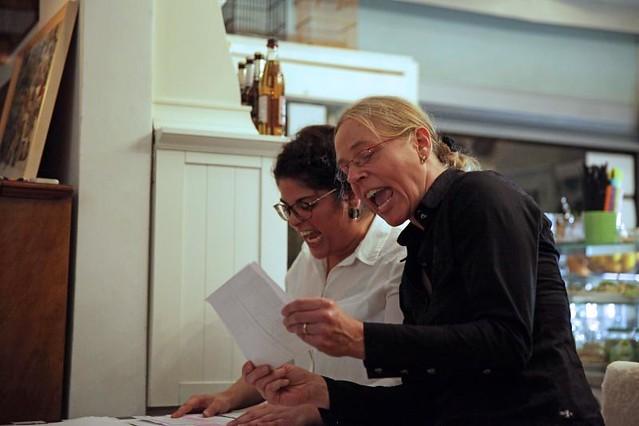 Lesung: DIE FEINDIN, eine Erzählung von Lioba Happel,  vorgetragen von Signe Ibbeken + Cenet Alkan, September 2017