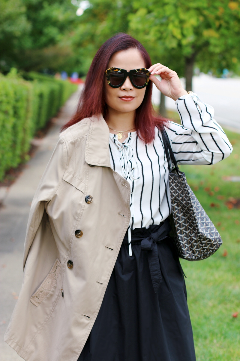 karen-walker-sunglasses-striped-lace-up-top-trench-coat-4