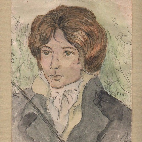 A watercolor my mother did of John Keats, with whom she was obsessed. For her, it was always Keats & Hank Williams: two doomed poets who both died far too young, tragically - this caught her up in the romantic fixation on, as my father described it,