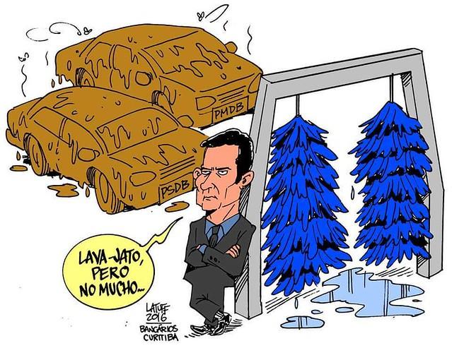 A atuação do juiz de primeira instância, Sérgio Moro é questionada por não se aplicar a figuras de partidos como o PSDB - Créditos: Carlos Latuff
