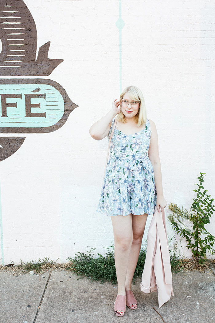 austin fashion blogger writes like a girl pastel floral romper blush blazer8