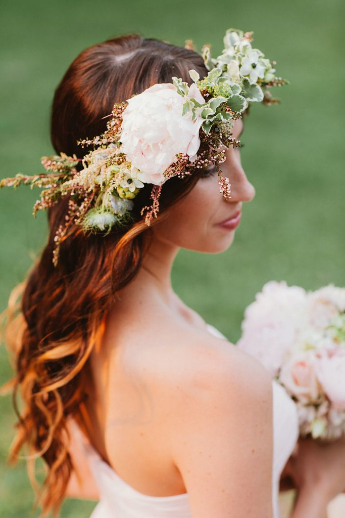 Wedding Hairstyle Ideas : Rustic flower crown with loose waves...