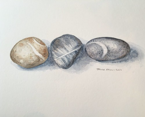 Stones in watercolor, from my mom's garden.