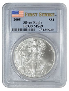 2005 Silver Eagle first strike holder