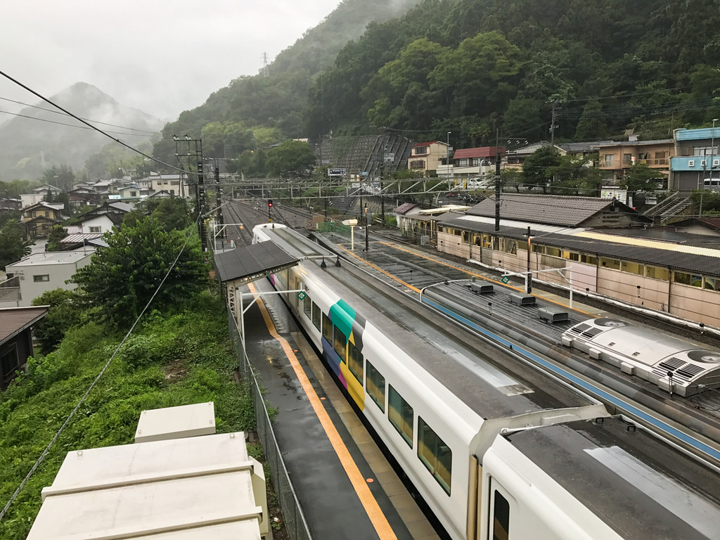 Shiotsu station during the typhoon