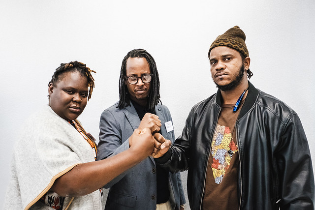 AfriqUPrising! Linda Masarira, Teddy Mazina, Thiat (from the left)  (c) Andi Weiland | Heinrich-Böll-Stiftung (CC by)