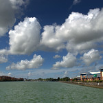 Fluffy clouds at Preston Marina