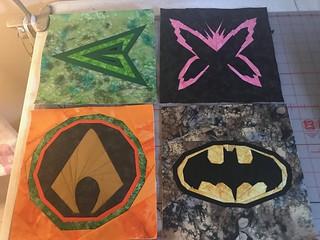 Superheroes: Green Arrow, Psylocke, Aquaman, Batman