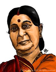Caricature of Sushma Swaraj