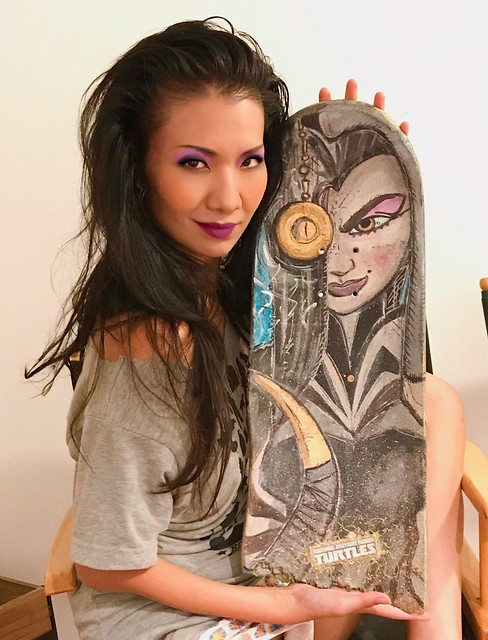 Actress #GwendolineYeo with her #Shinigami #skateboard, her character in #Nickelodeon's #TMNT.