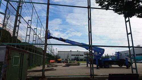 錦町スポーツ広場 人工芝化の工事が始まる。