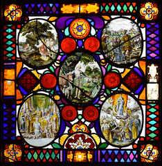 Adam names the animals, with (clockwise from top left) God creates Eve, Joseph is sold by his brothers, Assumption of the Blessed Virgin, Joachim's offering refused