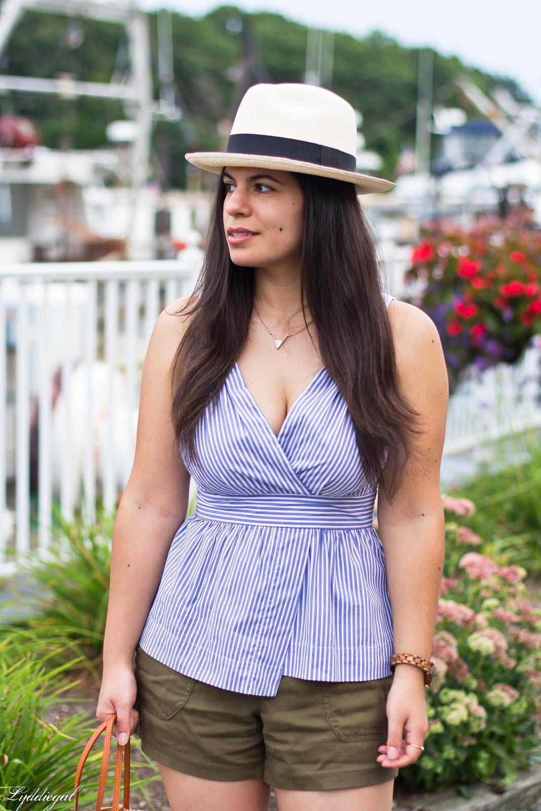 striped peplum top, shorts, panama hat, straw bag-7.jpg